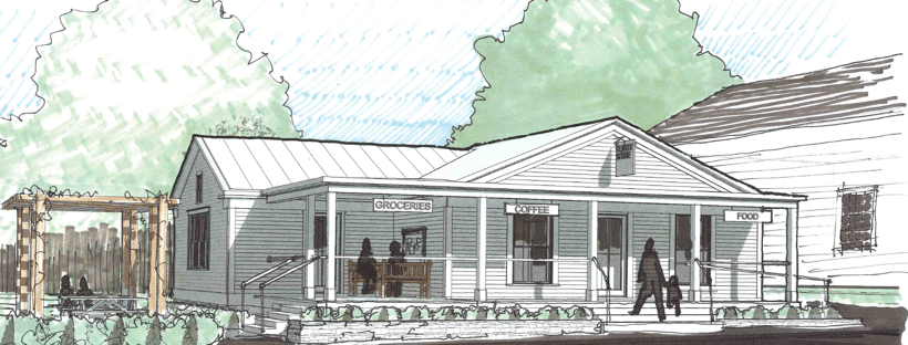 Architect's rendering of revived Albany General Store - Albany, VT
